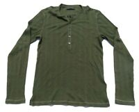 Mens JOHN VARVATOS Green Long Sleeve Button Waffle Henley Shirt Medium $118