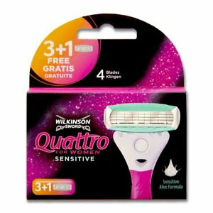 Wilkinson Quattro for Women Sensitive razor blades, pack of 4