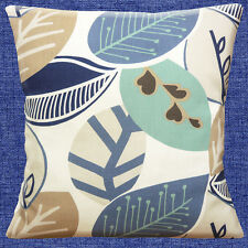 """Shabby Chic Large Leaves Off white duck egg blue beige 16"""" Pillow Cushion Cover"""