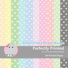 10 Sheets Patterned Decorative A4 Craft Paper Stock - Polkahearts- 160gsm