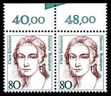 BUND Frauen   80 Pf. ** Oberrand-Paar mit Farbkeil (selten), Mi. 1305, Luxuspaar