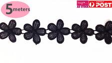 5M Black Venise Lace Embroidered Flower Bridal Lace Trims Applique Trim BFL01 YW