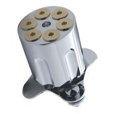 44 MAG BULLET 6 SHOT GUN BARREL SPINNER STEERING WHEEL KNOB CHROME & GOLD