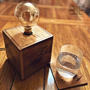 Rustic Personalised Engraved Reclaimed Industrial Wood Post Bedside Lounge Lamp