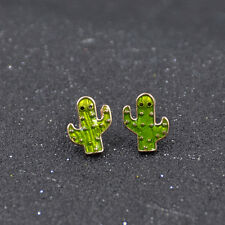 1 Pair Cute Cactus Earring Enamel Stud Earring Women Jewelry Gifts Accessories