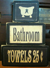 Bathroom Bath Towels Country Primitive Rustic Stacking Blocks Wooden Sign Set
