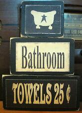 Bathroom Bath Towels Country Primitive Rustic Stacking Blocks Wooden Sign Set