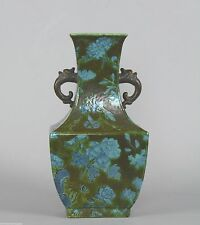 Chinese Porcelain Vase Blue Flowers Green Ground Faux Foo Dog Handles Qing