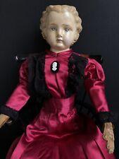Rare 25� German (?) Antique Papier Mache Doll Original Label Unbreakable Heads