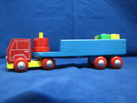 Vintage HEROS wood truck with Semi Trailer and blocks Made in Germany – m317