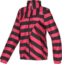 Adidas Originals Striped Windbreaker Jacket w/Hood - Pink/Blk - US Women Small