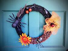 Spooky Halloween Harvest Fall Door Wreath w/ Spiders, Orange Web, Rat & Bat