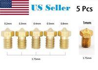 5 Pcs 0.2/0.3/0.4/0.5/0.8mm Brass Nozzle for 1.75mm/3mm 3D Printer V5&V6 J-Head