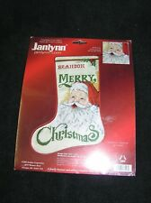 "Janlynn Christmas Stocking Counted Cross Stitch Kit SANTA 17"" Sam Hawkins"