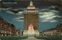 Atlantic City, NJ, Hotel Claridge at Night, Linen Vintage Postcard e1837