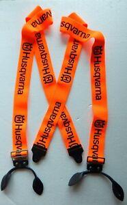 Husqvarna Suspenders - Button Leather Brace - Orange - New