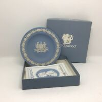 "Wedgwood ""City of Liverpool"" Embossed Crest Blue Jasperware Pin Dish Boxed 🎁🎁"