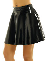 Women's Wet Look PU Leather High Waist Flared Pleated A-Line Mini Skater Skirts