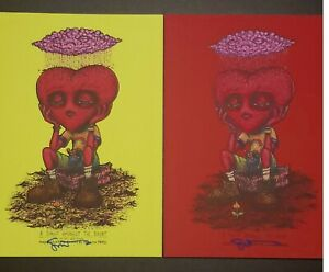 "Marq Spusta A Sprout Amongst Us TWO PACK  5"" X 7"" Prints Red Light Green 2 Birds"