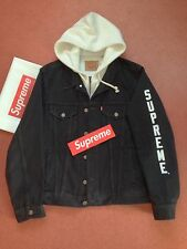 SUPREME LEVIS Fleece Hooded Trucker Jacket Jacke Black Schwarz