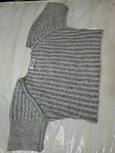 Cropped Grey Ribbed Jumper Size Xs