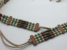 Vintage 70's Belt Wood Beads Turquoise Brown Beige Hippy Boho Retro Southwestern