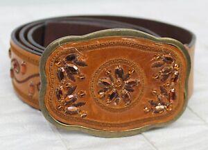 LW Brown Tan Leather Belt with Jewel Embellishment Rhinestone Embroidered Sz L