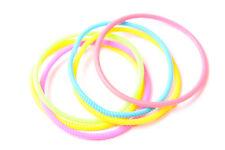 Fantastic Set Of Six Skinny Rubber Disco Colours Small Bracelets For Girls(T562)