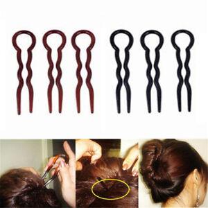 9/15 Pcs U-shaped Bun Hair Pin Clip Grips Brown Wavy Salon Hairpins