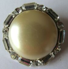 CORO Vintage Pearl Button Brooch Decorated with Clear Rhinestones