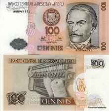 Perù banconota nove di 100 NRTI Pick133 FILATURE DI COTONE 1987