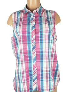 Talbots Petites Women's sz LP Multi Color Shirt Striped Sleeveless Button Front