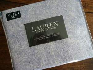 RALPH LAUREN BLUE White Fine Line PAISLEY QUEEN XDP SHEET Set 4PC