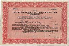 NEW YORK 1924 Bowman Biltmore Hotels Corp Stock Certificate Titanic Survivor
