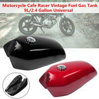 9L/2.4 Gallon Motorcycle Sports Cafe Racer Vintage Fuel Gas Tank w/ Cap + Switch