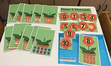 0-10 Matching Flowers Game Learning Center- 11 Laminated Mats