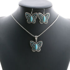 Retro Blue Turquoise Butterfly Pendant Tibet Silver Choker Necklace Earrings Set