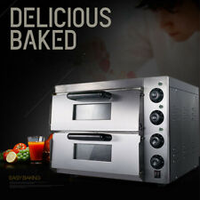 Commercial Bread Making Machines Double Electric Pizza Oven 3kw Stainless Steel