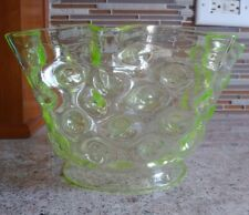 """Vintage 19th C. Vaseline Glass Hobnail Ruffled Top Oil Lamp Shade LOOK! 5"""" Fit"""