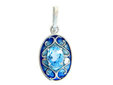 SS Sky Blue Topaz And Enamel Pendant With FREE CHAIN