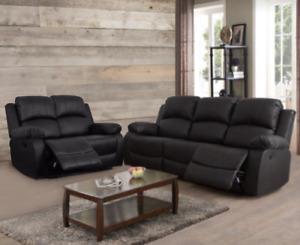 NEW Black 2PC Recliner Sofa & Loveseat 4 Seat Recliner - Comfortable & Relaxing