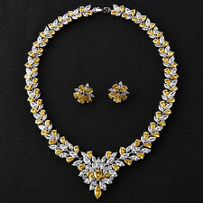 Chunky Statement Choker Necklace And 1 Pair Earrings Top CZ Wedding Jewelry Sets