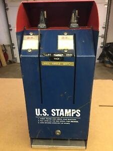 VINTAGE USPS MODEL S67 POSTAGE STAMP COIN OPERATED 25 CENT VENDING MACHINE
