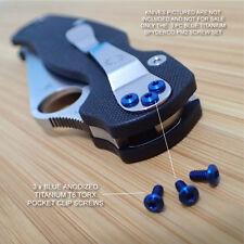 Spyderco Paramilitary PM2 Titanium 3pc BLUE Pocket Clip Screw Set - NO KNIFE