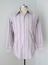 VGC Vtg 70s Mod Purple Geometric Stripe Poly Cotton Disco Pimp Shirt Slim M