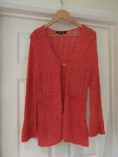Debenhams Collection Coral Pink Crochet Cardigan Cable Knit Long Sleeve Size 12