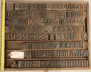 Vintage Lot Letterpress Print Type Wood Blocks Letters Numbers 130+ Pcs No Res#5