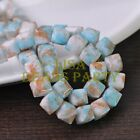 New 10pcs 10mm Cube Square Faceted Glass Loose Spacer Colorful Beads Blue&Brown
