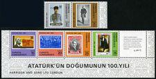 Turkey 2188-2193 pair and strip, MI 2551-2556, MNH. Kemal Ataturk,1981(see note)