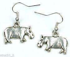 Hand Made Silver Colour Hippopotamus Earrings HCE351